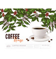 coffee advertising concept with cup and plants vector image