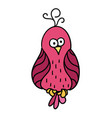 cute cartoon pink bird with black contour parrot vector image