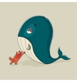 Cute cat with a sickly whale vector image
