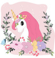 cute pastel unicorn cartoon in pastel colorful vector image