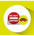 do not enter road sign sedan red vector image