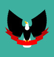 eagle and red ribbon big black bird emblem vector image