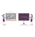 female teacher stands at map blackboard vector image