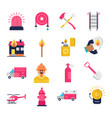 firefighter and fire department flat icons set vector image
