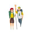 flat man woman hiking tourist vector image vector image