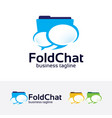 folder chat logo design vector image vector image