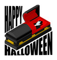 happy halloween dracula in open coffin for vector image vector image
