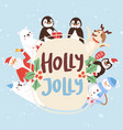 holly jolly cartoon animals and christmas vector image