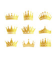 isolated golden color crowns logo collection vector image