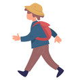 kid wearing hat and rucksack walking traveling vector image