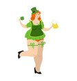 leprechaun girl with red hair and beer beautiful vector image vector image