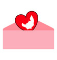 letter with a heart shape vector image