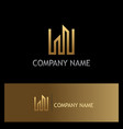 line building gold logo vector image vector image