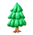 low poly art with stylized green fir tree vector image