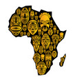 map of africa with tribal ethnic masks vector image vector image