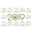 marijuana calendar for 2019 vector image vector image