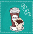 paper cup of coffee with chocolate muffin vector image