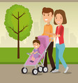 parents with kids in the park vector image vector image
