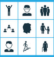 person icons set collection of ladder family vector image vector image