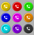 Phone icon sign symbol on nine round colourful vector image vector image