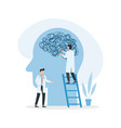 psychotherapy doctor untangling a brain knot vector image