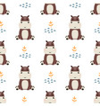 seamless pattern with cute hippopotamus simple vector image