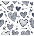 seamless romantic pattern hearts and vector image vector image