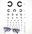 Table for eye tests with glasses vector image vector image