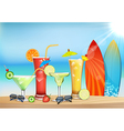 The freshness of the juice at the beach vector image vector image