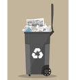 trash recycle bin container full of paper vector image vector image