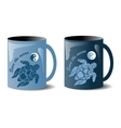 two mugs with turtles vector image vector image