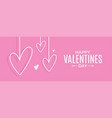 valentines day banner hearts on pink vector image