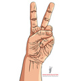 Victory hand sign detailed vector image vector image