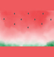 watercolor red watermelon slice for summer vector image