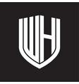 wh logo monogram with emblem shield design vector image vector image