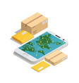 worldwide post delivery isometric composition vector image vector image