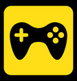 yellow black information sign - gamepad icon vector image vector image