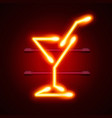 neon cocktail city sign signboard vector image