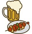 Overflowing Beer Mug and Plate with Kebab vector image