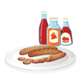 A plate of sausage with ketchups vector image