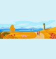 autumn landscape concept with lighthouse on vector image vector image