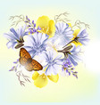 beautiful field flowers realistic flowers vector image vector image
