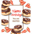 birthday donuts invitation card watercolor vector image vector image