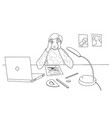 boy at home in stress doing hard homework or vector image