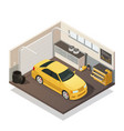 car maintenance service isometric interior vector image vector image