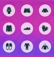 clothes icons set with pullover hoodie glove and vector image vector image