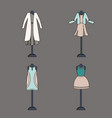 collection of women clothing in pastel colors on a vector image