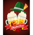 colorful of two big mugs of yellow beer with vector image