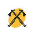 crossed axes icon with yellow shape behind vector image
