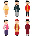 cute cartoon asian boy dress difference vector image
